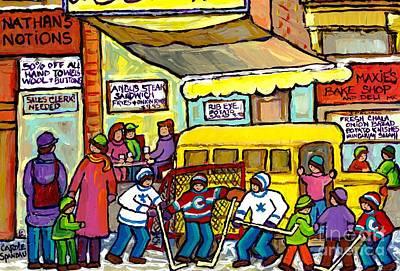 Montreal Storefronts Painting - Montreal Steak House Plateau Mont Royal School Bus Paintings Winter Hockey Scene Carole Spandau      by Carole Spandau