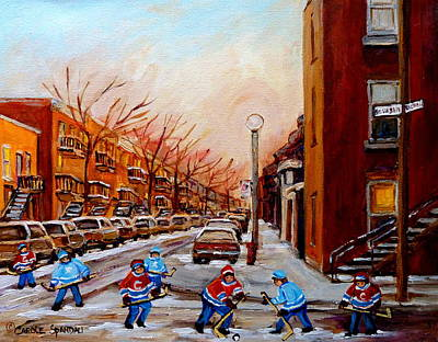 Our National Sport Painting - Montreal Street Hockey Game by Carole Spandau