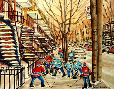 Hockey Sweaters Painting - Montreal Street Hockey Paintings by Carole Spandau