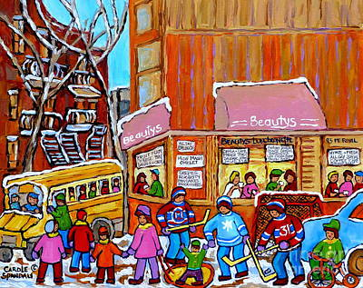 Afterschool Hockey Montreal Painting - Montreal Street In Winter Beauty's Restaurant Mont Royal And St Urbain Canadian Art Carole Spandau  by Carole Spandau