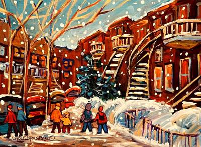 Classical Montreal Scenes Painting - Montreal Street In Winter by Carole Spandau