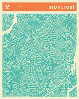 Montreal Street Map Art Print