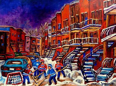 Afterschool Hockey Painting - Montreal Street Scene Paintings Hockey On De Bullion Street   by Carole Spandau