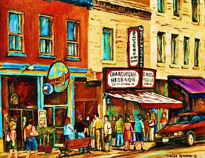 The Main Montreal Painting - Montreal Streetscene Artist Carole Spandau Paints Schwartzs Main Street Hustle Bustle by Carole Spandau