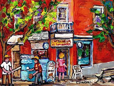Montreal Restaurants Painting - Montreal Summer Scene Painting Kids Play Baseball At The Depanneur Rue St Dominique Plateau  Art by Carole Spandau