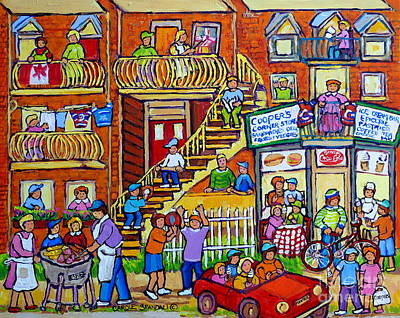 Painting - Montreal Summer Street Scene Art Neighborhood Block Party Cooper's Store Carole Spandau              by Carole Spandau