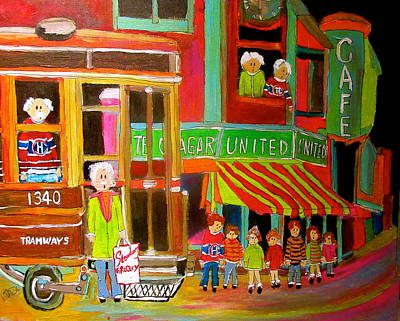 Litvack Painting - Montreal Tramways United Cigar Store by Michael Litvack