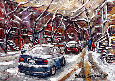 Painting - Montreal Verdun Winter Scene Painting For Sale Small Format Original Art For Sale C Spandau Artist   by Carole Spandau