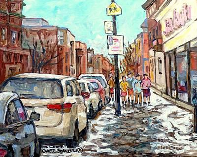Painting - Montreal Verdun Winter Scene Paintings For Sale Jean Coutu Winter Walk Rue Wellington C Spandau      by Carole Spandau
