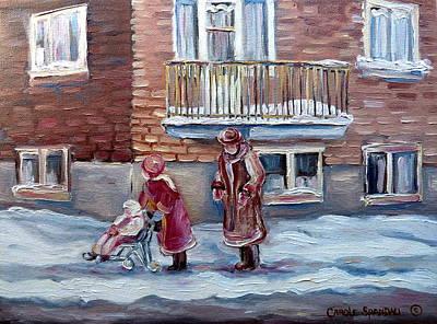 C Streetscene Painting - Montreal Winter City Painting by Carole Spandau