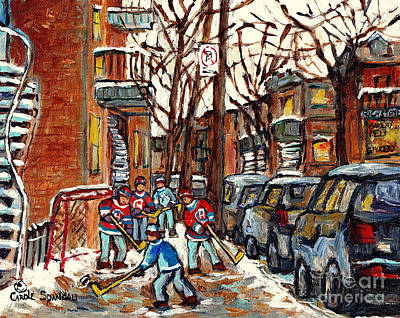 Painting - Montreal Winter City Scene Painting And Hockey Art Paintings For Sale C Spandau Canadian Artist by Carole Spandau
