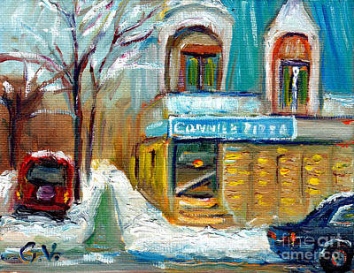 Montreal Neighborhoods Painting - Montreal Winter City Scene Pointe St Charles Connie's Pizza Snowy Urban Scene  Oil Painting by Grace Venditti