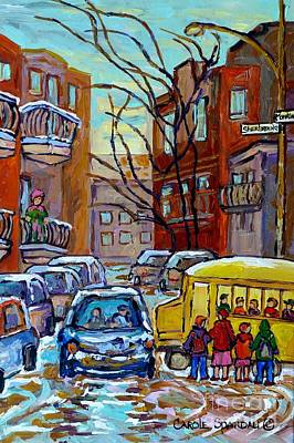 Painting - Montreal Winter City Scene With Yellow School Bus Canadian Painting Carole Spandau                   by Carole Spandau