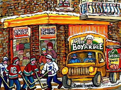 Store Window Display Painting - Montreal Winter Hockey Game Esposito Grocery Store With Chef Boyardee Truck Montreal Winter Scene by Carole Spandau