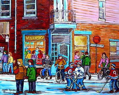 Montreal Winter Scene Bicycles And Hockey At Wilensky's Lunch Counter Canadian Art Carole Spandau Print by Carole Spandau
