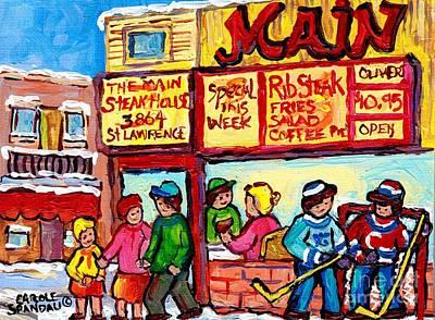 Montreal Winter Scene Rue St Laurent The Main Steakhouse Street Hockey Art Painting  Carole Spandau  Original