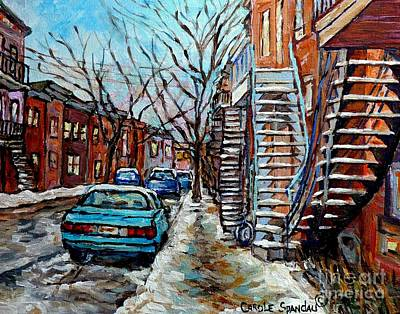 Painting - Montreal Winter Staircases Painting For Sale Snowy Street Scene Carole Spandau Quebec Artist by Carole Spandau