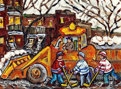 Painting - Montreal Winterscene Paintings For Sale Snowplows And Hockey Art Paintings For Sale C Spandau Artist by Carole Spandau