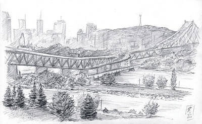 Montreal Cityscapes Drawing - Montreal's South Shore by Brandy Woods