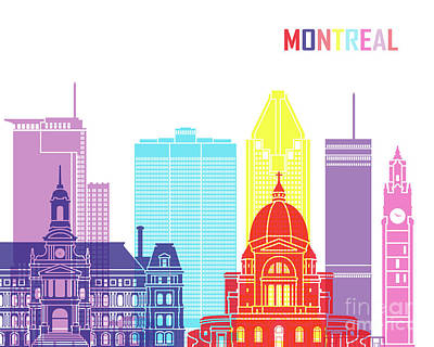 Montreal Cityscapes Painting - Montreal_v2 Skyline Pop by Pablo Romero
