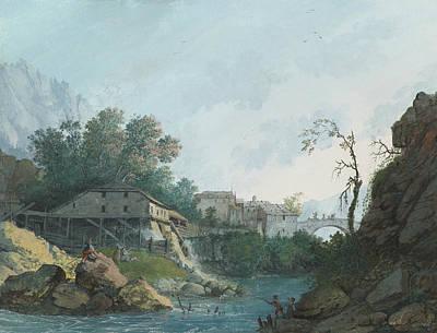 Montreux Muhle Und Brucke Art Print