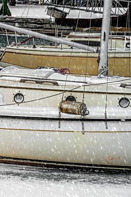 Photograph - Montrose Harbor Boats Snow V2 Dsc8590 by Raymond Kunst