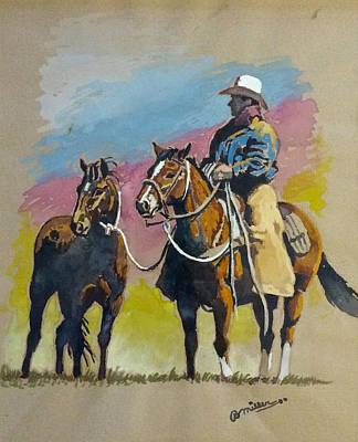 Monty Roberts Art Print by Bern Miller