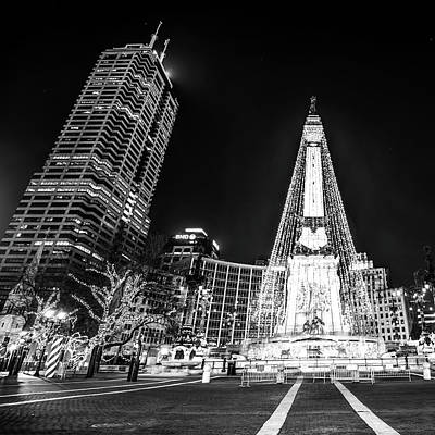 Print featuring the photograph Monument Circle At Christmas - Black And White by Gregory Ballos