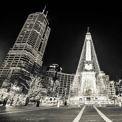 Print featuring the photograph Monument Circle At Christmas - Sepia by Gregory Ballos