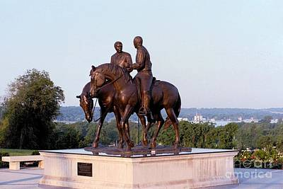 Nauvoo Statue Photograph - Monument In Nauvoo Illinois Of Hyrum And Joseph Smith Riding Their Horses by Kim Corpany