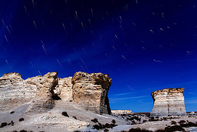 Photograph - Monument Rocks Moonlight by Bill Kesler