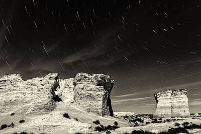 Photograph - Monument Rocks Moonlight - Black-and-white by Bill Kesler
