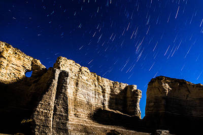 Photograph - Monument Rocks Star Trails by Bill Kesler