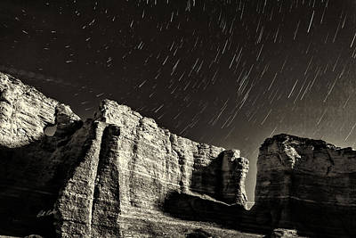 Photograph - Monument Rocks Star Trails - Black-and-white by Bill Kesler
