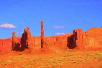 Photograph - Monument Valley 10 - Totem Poles Photopainting by Allen Beatty