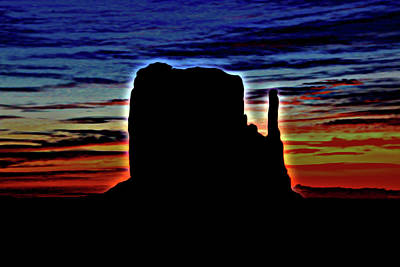 Photograph - Monument Valley 16 - West Mitten Sunrise Photopainting by Allen Beatty