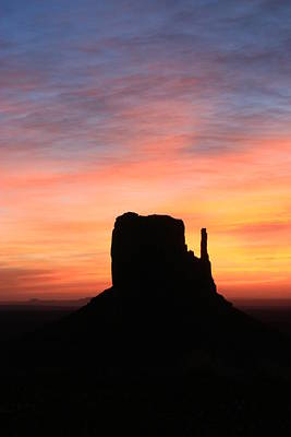 Photograph - Monument Valley 35 - West Mitten Sunrise # 3 by Allen Beatty