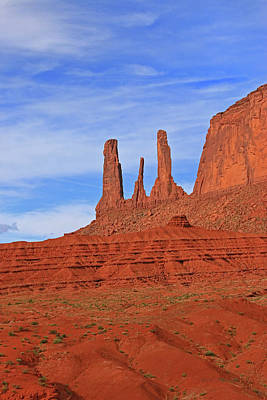Photograph - Monument Valley 36 - Three Sisters # 5 by Allen Beatty