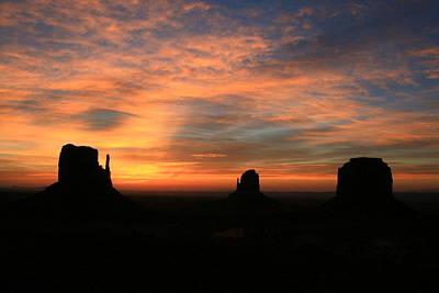 Photograph - Monument Valley 40 - West Mitten, East Mitten, Merrick Butte Sunrise # 2 by Allen Beatty