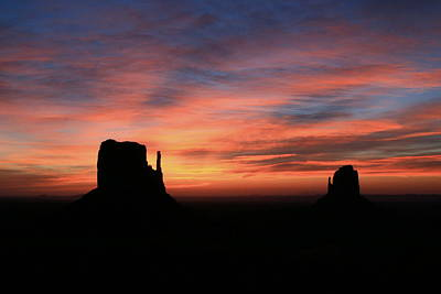 Photograph - Monument Valley 42 - The Mittens Sunrise # 2 by Allen Beatty
