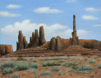 Totem Pole Painting - Monument Valley Architecture by Gordon Beck