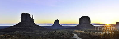 Photograph - Monument Valley At Sunrise Panoramic by Peter Dang