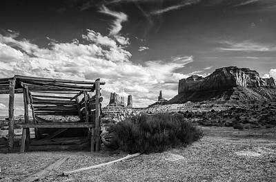 Photograph - Monument Valley Black And White 2 by John McArthur