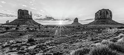 Photograph - Monument Valley Black And White Sunrise by John McGraw