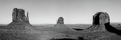 Photograph - Monument Valley Buttes Panoramic Landscape At Sunset - Monochrome by Gregory Ballos