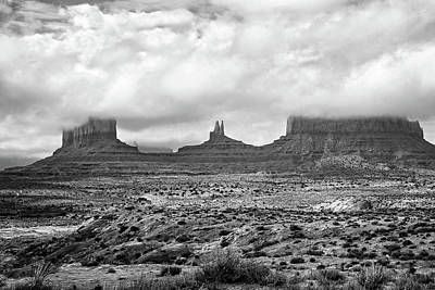 Photograph - Monument Valley - Clouds - Black And White by Nikolyn McDonald