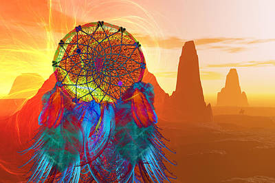 Good Luck Digital Art - Monument Valley Dream Catcher by Carol and Mike Werner