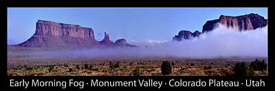 Photograph - Monument Valley In The Fog Pan 06 Text Black by Thomas Woolworth