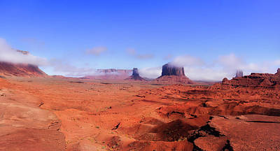 Photograph - Monument Valley In The Fog Pan 10 by Thomas Woolworth