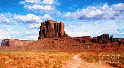 Sandstone Mixed Media - Monument Valley Long View by Garland Johnson